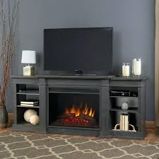 electric fireplace stand entertainment center in antique gray media with glass embers