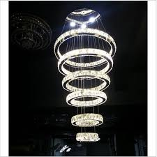 large crystal 6 rings circles chandelier suspension lamp lighting led light room
