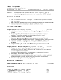 manufacturing resume sample forklift operator resume