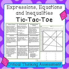 expressions equations and inequalities tic tac toe sment