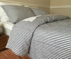 navy and white striped bedding