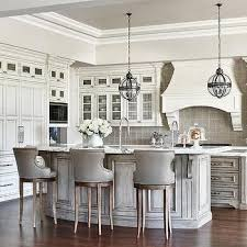 gray wash curved kitchen island breakfast bar with leather counter stools gray counter stools a20