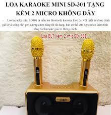 LOA BLUETOOTH SDRD 301 Karaoke Mini + Tặng Kèm 2 Mic Âm Thanh Tuyệt Vời Đa