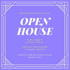 Invitation To Open House Purple And Yellow Open House Invitation Templates By Canva