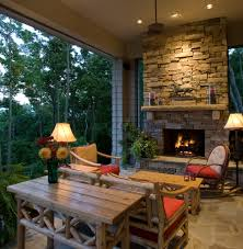 Corner Outdoor Fireplace Porch Rustic with Ceiling Fan Flagstone Hearth