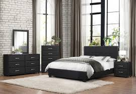 Homelegance Black Padded Leather Four Piece Full Size Bedroom Set