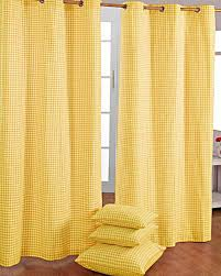 Cotton Gingham Check Yellow Ready Made Eyelet Curtains