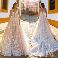 sexy mermaid blush wedding dresses with detachable train 2017