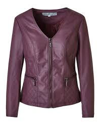 plum quilted faux leather jacket plum hi res