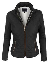 Womens Lightweight Quilted Puffer Zip Up Jacket with Pockets   Zip ... & LE3NO Womens Lightweight Quilted Puffer Zip Up Jacket with Pockets Adamdwight.com
