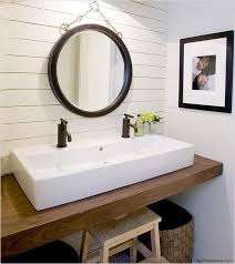 no room for a double sink vanity try a trough style sink with two faucets for a space saving alternative i love this sink