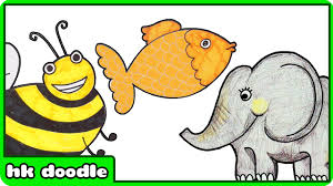 easy animal drawings for kids. Plain Kids 10 Easy Animal Drawings For Kids Vol 1  Step By Drawing Tutorials  How To Draw Cute Animals  YouTube For M