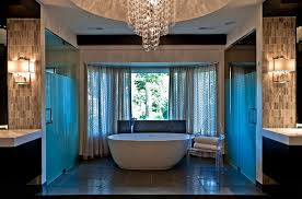 traditional bathroom lighting ideas white free standin. Bathrooms:Eclectic Bathroom With Cool Wall Decor And Free Standing Bathtub Under Flair Chandelier Stylish Traditional Lighting Ideas White Standin T