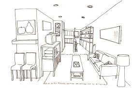 couch drawing side view. perspective drawing living room side view into the couch a