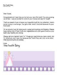 Tooth Fairy Letter Lost First Tooth