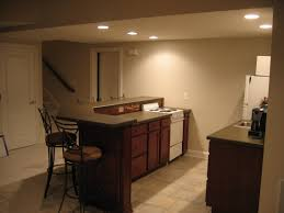 decoration: Warm Beige Home Basement Bar Interior Designs With Gorgeous  Tier Bar Table Units Feat