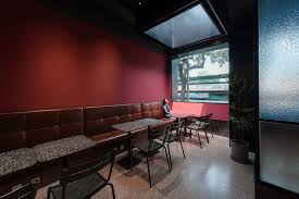 Office Design Group Gorgeous Red Wall Café B48 Design Group ArchDaily