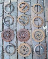 Lot Of 12 Antique Iron Seed Corn Planter Plates Primitve