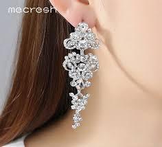 chandelier earrings wedding choose silver or rose gold crystal long bridal earrings rose
