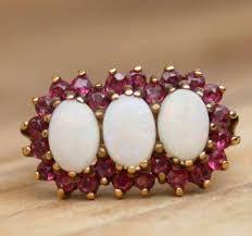 9ct Gold Ring Rubin Opal Schmuck Vintage Schmuck Damen 9k 9 Karat Womens Sz O 1977 Opal Ring Rubin Ring Vintage Schmuck Cluster Ring