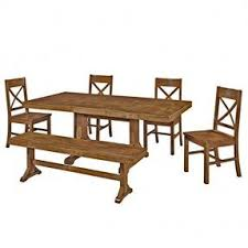 dining table with bench solid wood. 6 piece dining set consisting of rectangular table, 4 chairs and wide bench. construction table with bench solid wood