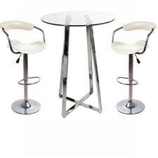 bistro tall posuer table cm nerix glass top poseur table and  cont padded stools
