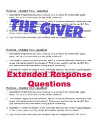 best the giver resources images teaching ideas  the giver extended response questions