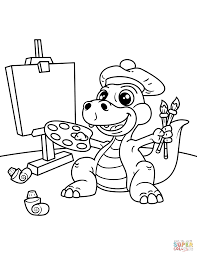 1159x1500 cute dinosaur artist with easel brush and palette of colors