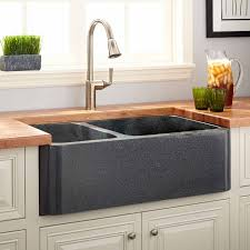 Kitchen Sinks Granite 36 Polished Granite 60 40 Offset Double Bowl Farmhouse Sink