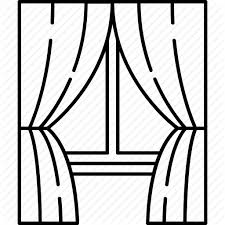 window drawing with curtains. curtains frame furniture glass home window icon search drawing with s
