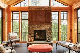 screened in porch with fireplace. Eze-Breeze® Screen Porch With Stone Fireplace \u0026 Underdeck Lighting Screened In Z