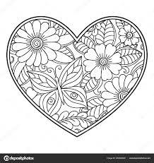 Mehndi Bloemenpatroon Vorm Van Hart Met Lotus Voor Henna Tekening