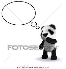 3d パンダ 考える クリップアート切り張りイラスト絵画集