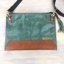 handmade leather travel bag cross shoulder bag flat leather southwestern green purse