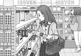 100円ショップで買い物をする女性のイラストイラストレーター貴木まいこ