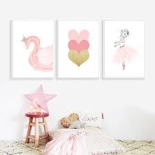 <b>Nordic</b> Style <b>Kids Poster</b> Ballet Girl <b>Poster Pink</b> Swan Wall Art Print ...