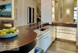 wenge wood kitchen countertops handcrafted for an entertainment bar area with white cabinetry in minneapolis minnesota