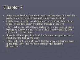 to kill a mockingbird chapters summary ppt video online  chapter 7 after school begins jem admits to scout that when he found his pants