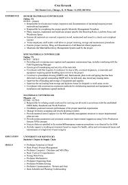 Materials Controller Resume Samples Velvet Jobs