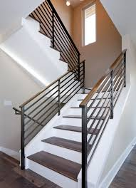 metal stair handrail. Fine Metal A Simple And Stylish Way To Make The Staircase Look Yet Chic  Eyecatching Is Use Contrasts In This Case For Example Wooden Stairs Sit  Throughout Metal Stair Handrail Pinterest