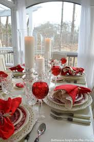Valentine's Day Table Setting on the Porch