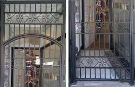 front door gate. RSG3000 Wrought Iron Gate And Overhead Panel With Scrolls On Shop Entrance In London City. Front Door