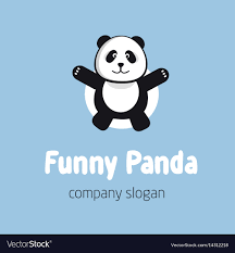 Panda Bear Logo Or Badge Template Flat Design