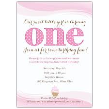 Personal Invitations Birthday Little Cupcake Pink First Birthday Invitations Paperstyle