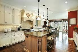 kitchen backsplash white cabinets brown countertop. White And Brown Backsplash Exposed Brick Kitchen Wooden Pedestal Round Shape Dining Cabinets Countertop I