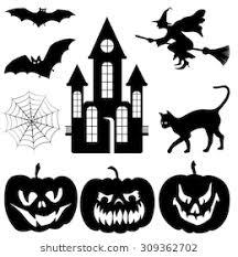 halloween black cat silhouette. Modren Halloween Set Of Halloween Silhouette On White Background In Halloween Black Cat Silhouette