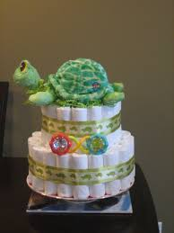 baby shower diaper cakes | Turtle Neutral Green Diaper Cake for ...
