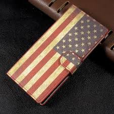 patterned leather wallet stand flip cover for sony xperia xa1 retro american flag 1