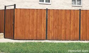 solid metal fence. Wood-fence-metal-posts Solid Metal Fence B