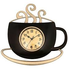 wall clock steaming coffee cup design